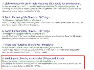 Google First Page Ranking of Fluttering Silk Shawls