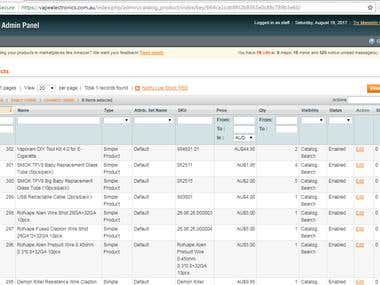 Magento 9.1 Product Upload/Listing