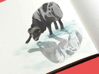 Sheep and Wolf Book Illustration