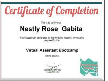 Virtual Assistant Bootcamp - Online Course Certificate