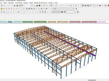 40 meters span truss design by staad pro