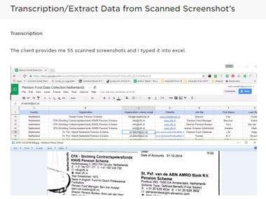 Transcription/Extract Data from Scanned Screenshot's