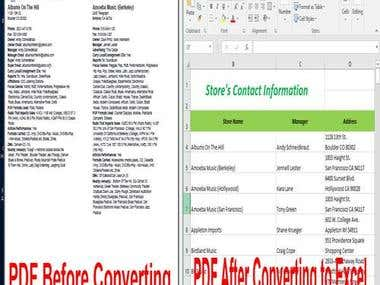 Copy Information from PDF to Excel Spreasheet