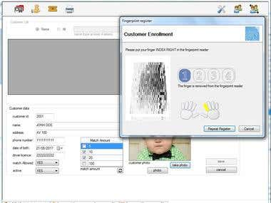 membership system, with customer photo and fingerprints