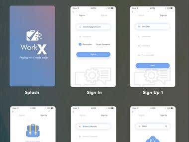 WorkX app design