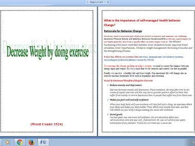 Medical article writing about health and exercise.