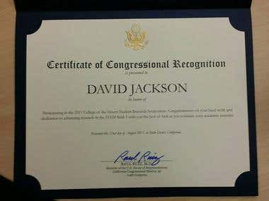 Congressional Certificate of Recognition