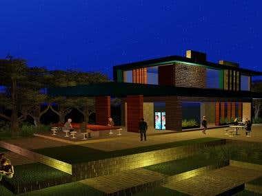 Cafeteria Design : Night View