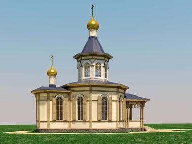 Сhurch 3d rendering view