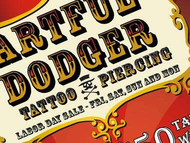 Artful Dodger Adverts, website and Printable materials
