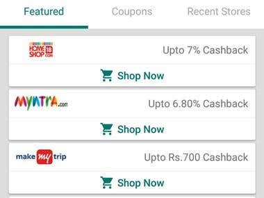 Android App Get CashBack while Shopping