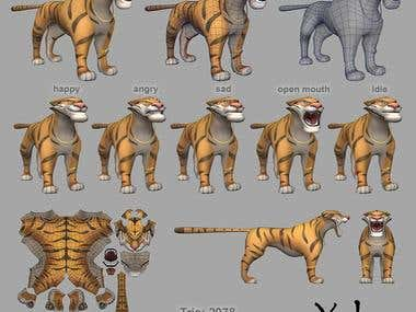 Low poly 3D Tiger for mobile game
