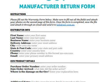 Oov Manufacturer & Warranty Form