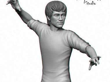 Bruce Lee 3D fan art for 3D print