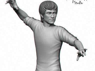 Bruce Lee 3D fan art for 3D print