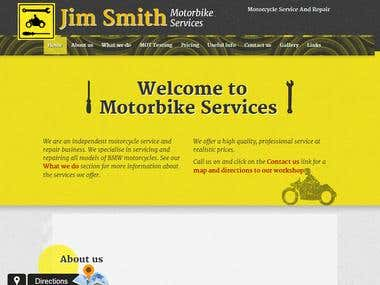 Bespoke one-page Joomla template for motorbike services