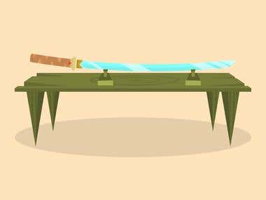 "Vector illustration ""Katana on a table"""