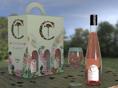 PRODUCT & PACKAGE DESIGN - WINE BOTTLE AND 6X BOX
