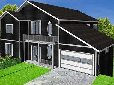 3d Model in Archicad and Rendering in Photoshop