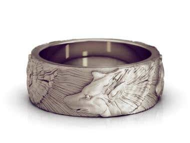 3d model of a ring with wolves