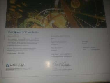 Certificate of completion of the AutoCAD course from autodes