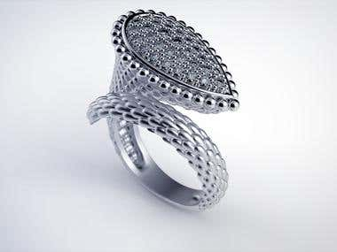 3d modeling and rendering copy of the Boucheron ring