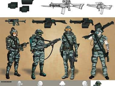 Various concepts of Guns and soldiers