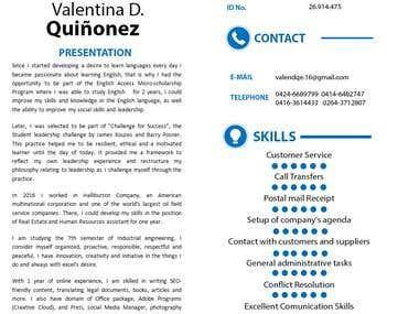 CV: Valentina Quiñonez (Part I)
