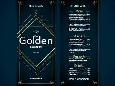 Very elegant restaurant menu