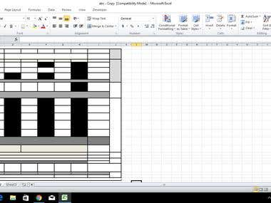 Template of form filling in excel in 2 hour