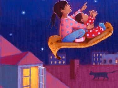 Children Illustration: To the moon