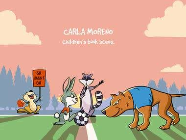 Children illustration: animal characters playing football