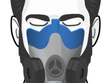 Illustration for respirator and mask image