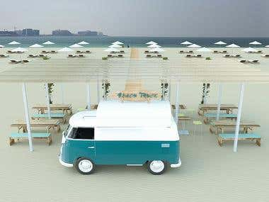 Beach truck with rental umbrellas and watersport