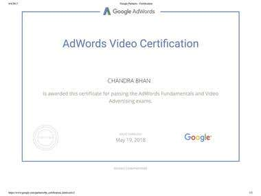 Google AdWords Video Certificate