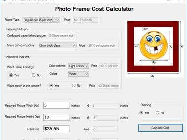 Photo Frame Cost Calculator in VB.NET