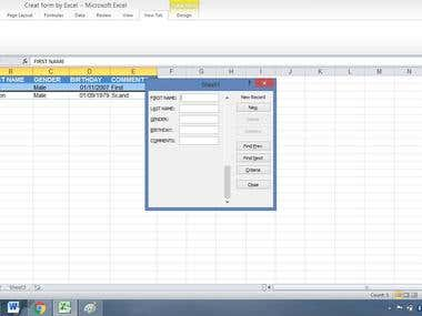 Data entry by Form in Excel sheet