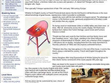 Local furniture manufacturer gets LA Daily News feature