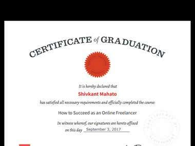 my certificate of freelancing online course