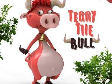 Terri-Bull 3d sculpt from a concept sketch