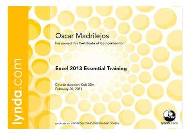 Excel 2013 Essential Training Certificate of Completion