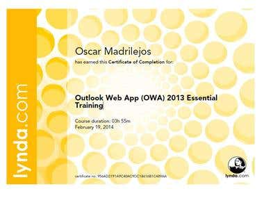Certificate of Completion Outlook Web App Essential Training