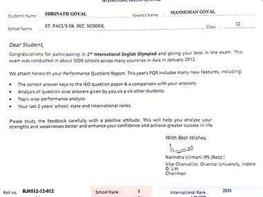 2nd INTERNATIONAL ENGLISH OLYMPIAD TOPPER CERTIFICATE
