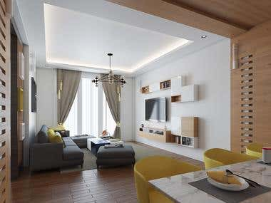 Living Room and Dining Room Interior Design