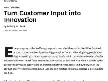 Tradução do artigo Turn Customer Input into Innovation