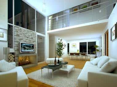3D Interior (Living Room)