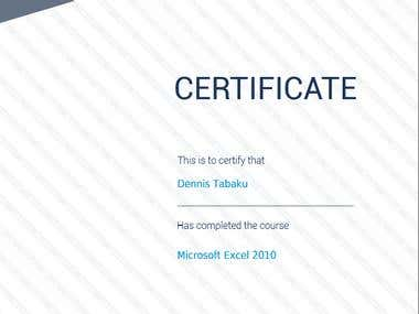 CERTIFICATE Microsoft Excel 2010