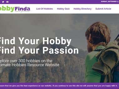 Hobby Finda Website Development