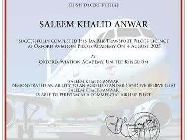 Aviation certificate