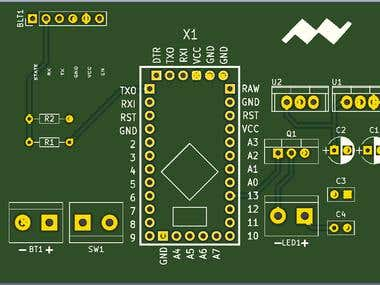 KiCA PCB designing for Arduino based wireless control switch